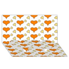 Hearts Orange Twin Heart Bottom 3d Greeting Card (8x4)  by MoreColorsinLife