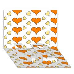Hearts Orange Love Bottom 3d Greeting Card (7x5)