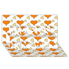 Hearts Orange Merry Xmas 3d Greeting Card (8x4)