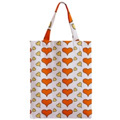 Hearts Orange Zipper Classic Tote Bags by MoreColorsinLife