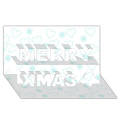 Flowers And Hearts Merry Xmas 3d Greeting Card (8x4)