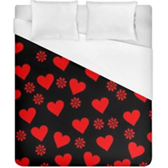 Flowers And Hearts Duvet Cover Single Side (double Size)