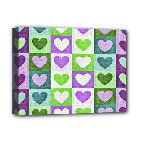 Hearts Plaid Purple Deluxe Canvas 16  X 12   by MoreColorsinLife