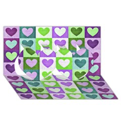 Hearts Plaid Purple Twin Hearts 3d Greeting Card (8x4)  by MoreColorsinLife