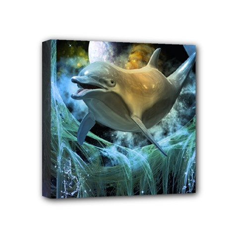 Funny Dolphin In The Universe Mini Canvas 4  X 4  by FantasyWorld7