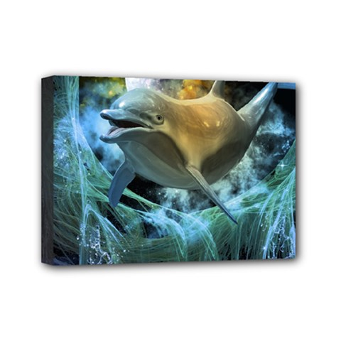 Funny Dolphin In The Universe Mini Canvas 7  X 5  by FantasyWorld7
