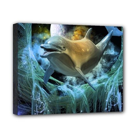 Funny Dolphin In The Universe Canvas 10  X 8