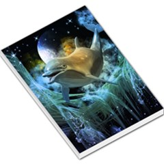 Funny Dolphin In The Universe Large Memo Pads