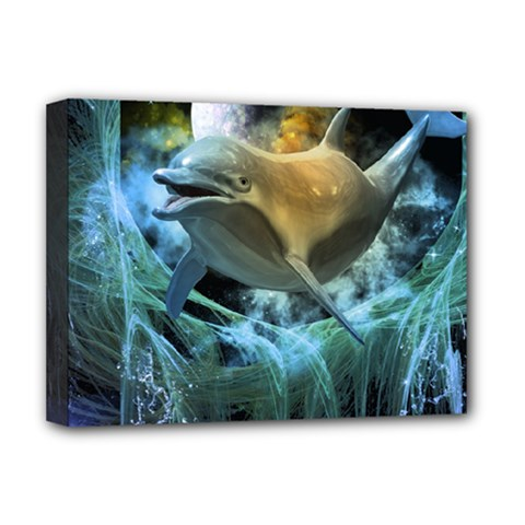 Funny Dolphin In The Universe Deluxe Canvas 16  X 12