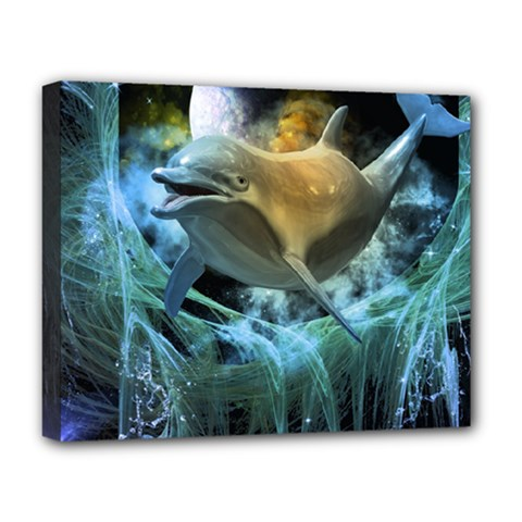 Funny Dolphin In The Universe Deluxe Canvas 20  X 16