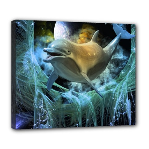Funny Dolphin In The Universe Deluxe Canvas 24  X 20