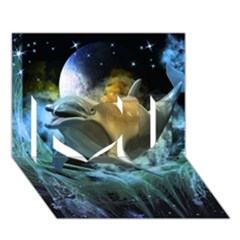 Funny Dolphin In The Universe I Love You 3d Greeting Card (7x5)