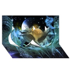 Funny Dolphin In The Universe Twin Hearts 3d Greeting Card (8x4)