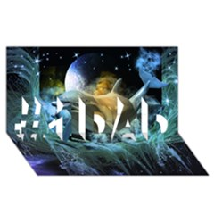 Funny Dolphin In The Universe #1 Dad 3d Greeting Card (8x4)