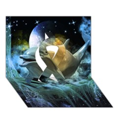 Funny Dolphin In The Universe Ribbon 3d Greeting Card (7x5)
