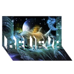 Funny Dolphin In The Universe Believe 3d Greeting Card (8x4)