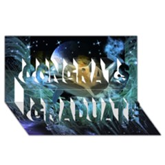 Funny Dolphin In The Universe Congrats Graduate 3d Greeting Card (8x4)