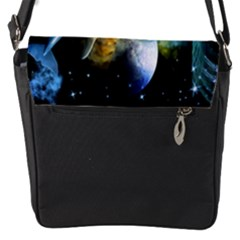 Funny Dolphin In The Universe Flap Messenger Bag (s)