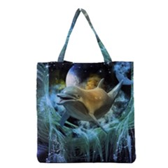 Funny Dolphin In The Universe Grocery Tote Bags