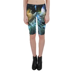 Funny Dolphin In The Universe Cropped Leggings