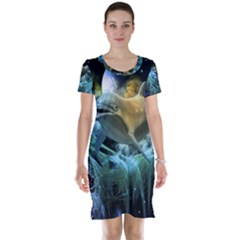 Funny Dolphin In The Universe Short Sleeve Nightdresses