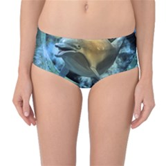 Funny Dolphin In The Universe Mid-waist Bikini Bottoms