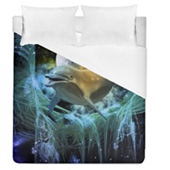 Funny Dolphin In The Universe Duvet Cover Single Side (full/queen Size)