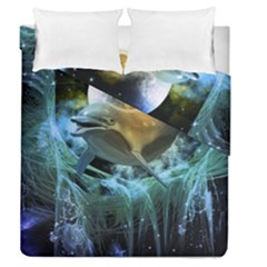 Funny Dolphin In The Universe Duvet Cover (full/queen Size)