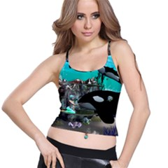 Cute Mermaid Playing With Orca Spaghetti Strap Bra Tops