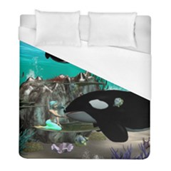 Cute Mermaid Playing With Orca Duvet Cover Single Side (twin Size) by FantasyWorld7