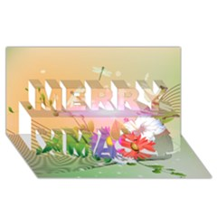 Wonderful Colorful Flowers With Dragonflies Merry Xmas 3d Greeting Card (8x4)  by FantasyWorld7
