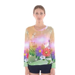 Wonderful Colorful Flowers With Dragonflies Women s Long Sleeve T Shirts