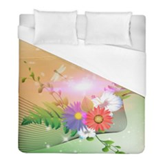 Wonderful Colorful Flowers With Dragonflies Duvet Cover Single Side (twin Size) by FantasyWorld7