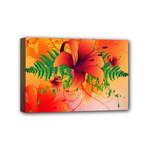 Awesome Red Flowers With Leaves Mini Canvas 6  X 4  by FantasyWorld7