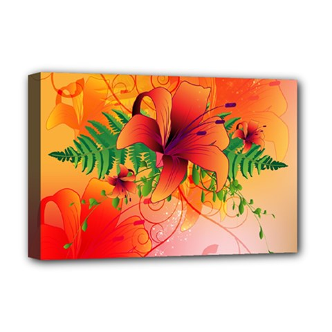 Awesome Red Flowers With Leaves Deluxe Canvas 18  X 12