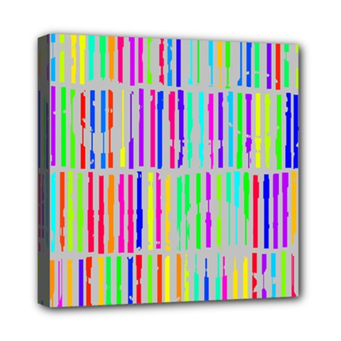 Colorful Vintage Stripes Mini Canvas 8  X 8  (stretched) by LalyLauraFLM