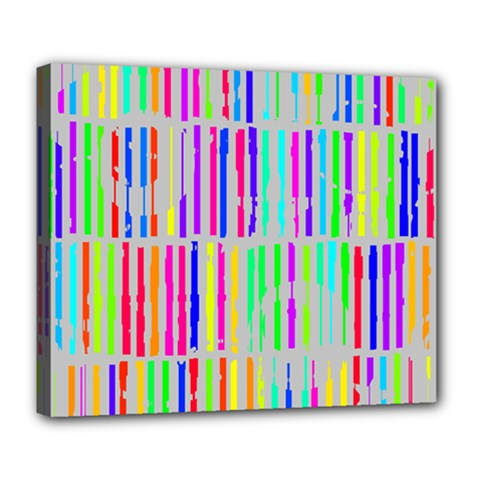 Colorful Vintage Stripes Deluxe Canvas 24  X 20  (stretched) by LalyLauraFLM