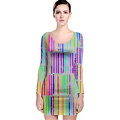 Colorful Vintage Stripes Long Sleeve Bodycon Dress