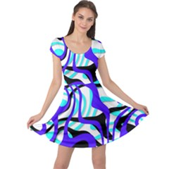Ribbon Chaos Ocean Cap Sleeve Dresses