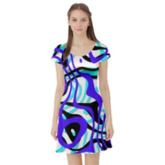 Ribbon Chaos Ocean Short Sleeve Skater Dresses by ImpressiveMoments