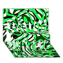 Ribbon Chaos Green You Rock 3d Greeting Card (7x5)  by ImpressiveMoments