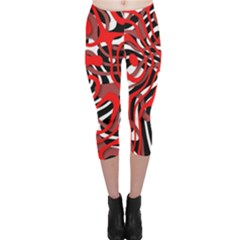 Ribbon Chaos Red Capri Leggings by ImpressiveMoments