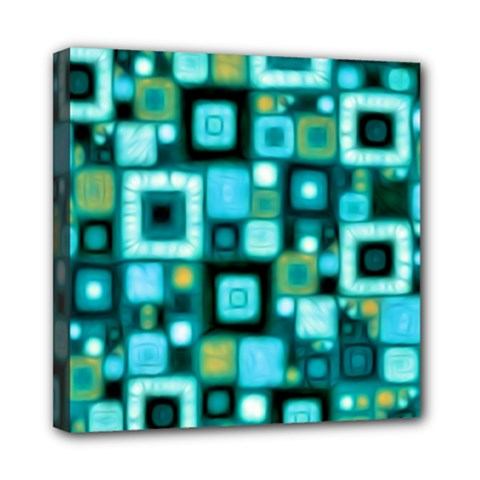 Teal Squares Mini Canvas 8  X 8  by KirstenStar