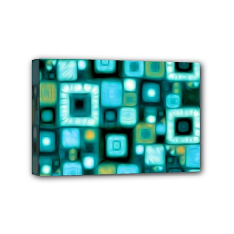 Teal Squares Mini Canvas 6  X 4  by KirstenStar
