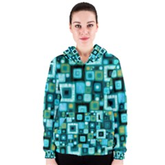 Teal Squares Women s Zipper Hoodies by KirstenStar