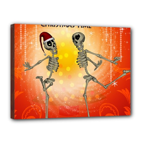 Dancing For Christmas, Funny Skeletons Canvas 16  X 12  by FantasyWorld7