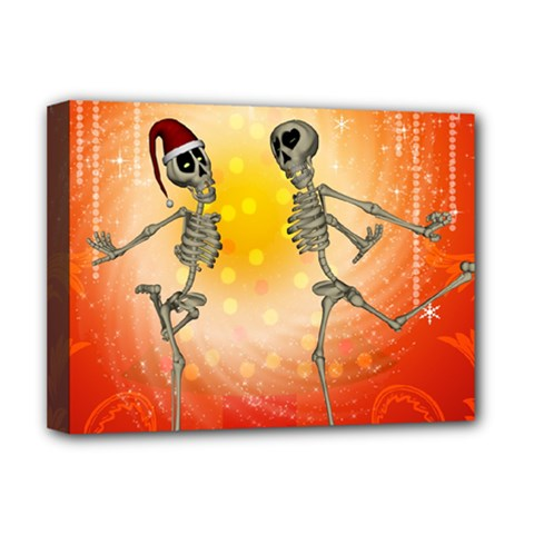 Dancing For Christmas, Funny Skeletons Deluxe Canvas 16  X 12