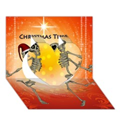 Dancing For Christmas, Funny Skeletons Heart 3d Greeting Card (7x5)  by FantasyWorld7