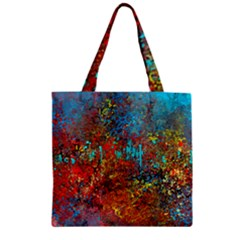 Abstract In Red, Turquoise, And Yellow Zipper Grocery Tote Bags