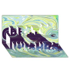 Abstract Ocean Waves Best Wish 3d Greeting Card (8x4)